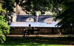 Prague in natural frame made from leaves - Czech Republic Stock Photos