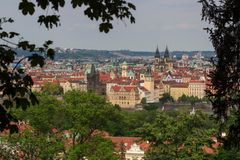 Prague in natural frame made from leaves - Czech Republic Royalty Free Stock Photos