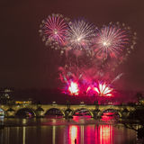 Prague New Year fireworks. Prague 2015 New Year fireworks over Charles bridge and the river Vltava (Moldau royalty free stock photography