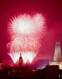 Prague - New Years Fireworks over the Old Town. Royalty Free Stock Images