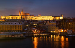 Prague at nigh. Prague castle in winter, night scene Royalty Free Stock Photo