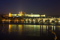 Prague at nigh. Prague castle at night, czech republic Royalty Free Stock Photography