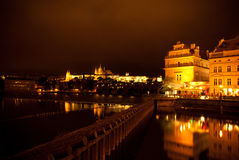 Prague at night. View to the castle of Prague at night Royalty Free Stock Image