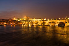 Prague at night. Prague castle with charles bridge at night Royalty Free Stock Photos
