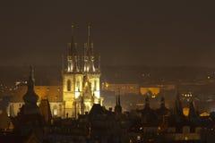 Prague at night. Prague Tyn church at night Stock Image