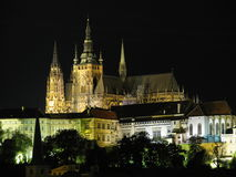 Prague at night. Prague old town with the cathedral at night; the Czech Republic landmark Stock Photos