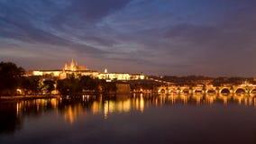 Prague at night. Castle and Charles Bridge in Prague, Czech Republic Stock Photography