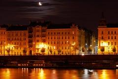 Prague at night. Night lights shine in the Vltava river in Prague Royalty Free Stock Image
