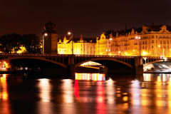 Prague at night. Night lights shine in the Vltava river in Prague Stock Photo