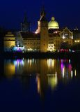 Prague at Night. Towers and Dome at Night, Prague, Czech Republic Stock Photo