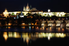 Prague at night. With reflection on the water Royalty Free Stock Photos