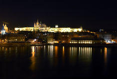Prague at night. View from the famous Charles bridge in Prague, towards the castle. Famous skyline, a landmark for Prague. Shot at night, 30 sec exposure Stock Image
