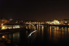 Prague at night. View from the famous Charles bridge in Prague, over the Vltava river. Famous skyline, a landmark for Prague. Shot at night, 30 sec exposure. A Stock Photos