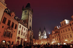 Prague at night. View of the Old town square in Prague Stock Image