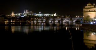 Prague at Night. Night view of Charles bridge, Prague castle and Vltava river in Prague, Czech Republic Stock Images