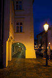 Prague at night, antique building and street lamp Royalty Free Stock Photo