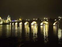 Prague night Charles bridge royalty free stock image