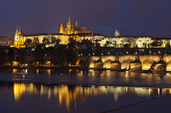 Prague at night, Charles bridge and Prague castle Royalty Free Stock Photography
