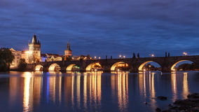 Prague at night Charles Bridge to the river and the old town cen Royalty Free Stock Images