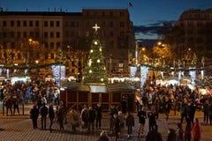 Prague night christmas shoping stock photography