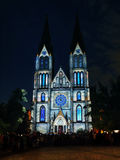 Prague Night Church, Signal Festival. Picture from The Signal Festival Prague 2016 - Night light video-mapping projection point- The Church of St. Ludmila Stock Images