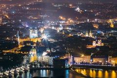 Prague Night Cityscape, Czech Republic. Charles Bridge And Vltava Royalty Free Stock Photos