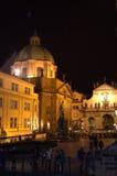 Prague night King Charles square stock image