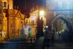 Prague Night Life Stock Image
