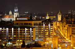 Prague by night. Modern and old architecture Royalty Free Stock Images