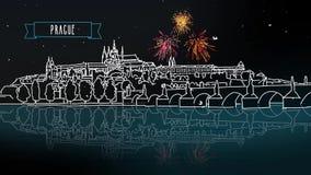 Prague by Night Panorama with Firework Intro Animation stock video