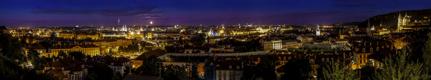 Prague by night, panoramic view. Royalty Free Stock Image