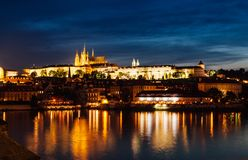 Prague night. Seeing with castle Royalty Free Stock Photo
