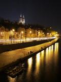 Prague at night. Rasin Embankment and Vysehrad above, Prague Royalty Free Stock Photo