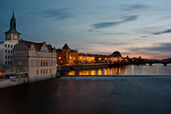 Prague Night Scenery Stock Images