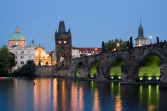 Prague night scenery royalty free stock photos