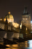 Prague night scenery Stock Photos
