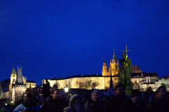 Prague night sightseers royalty free stock image