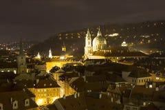 Prague at night, St. Nicholas Church (Malá Strana), Czech republic Royalty Free Stock Images