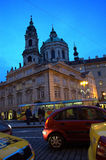 Prague night street view Stock Photo
