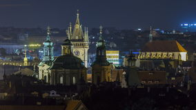 Prague night timelapse, fantastic old town roofs during twilight with towers and night illumination, Czech Republic stock footage