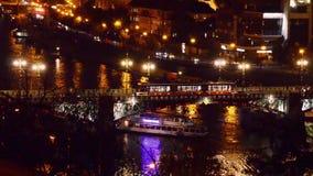 Prague night traffic. Night traffic on the bridge over Vltava river in Prague, travel transportation european city background stock footage