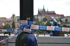 Prague No Entry. PRAGUE, CZECH REPUBLIC - JUNE 5: No Entry police line near Charles Bridge during flooding on June 5, 2013 in Prague, Czech republic with Prague Royalty Free Stock Photo