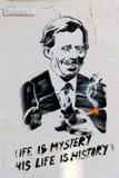PRAGUE - november 8, 2014 - Vaclav Havel väggmålning, Prague, Fotografering för Bildbyråer