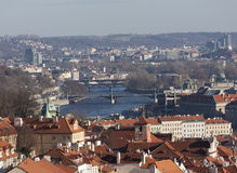 Prague from the observation deck of Strahov Monastery. Czech Republic. Stock Photos