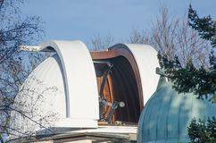 Prague Observatory with half open Dome Petrin. Prague Royalty Free Stock Photo