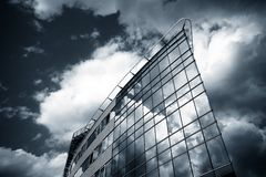 Prague Office. Big Office building at scary weather Royalty Free Stock Image