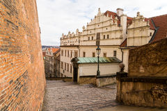 Prague Old Castle Steps descend to the old town. Czech Republic Prague Old Castle Steps descend to the old town Royalty Free Stock Photo