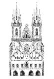 Prague. Old cathedral, sketch collection Royalty Free Stock Photography