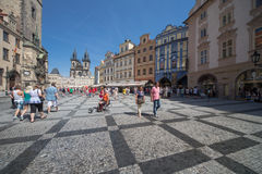 Prague old city center. The Old Town Square, Staré Mesto Prague at day, Czech Republic. The square is populated with tourists from all over the world Stock Image