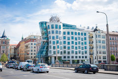 Prague old city. PRAGUE, CZECH REPUBLIC - MAY 8, 2015: Dancing House Deconstructivist original administrative office building near the northern limits of the Royalty Free Stock Image